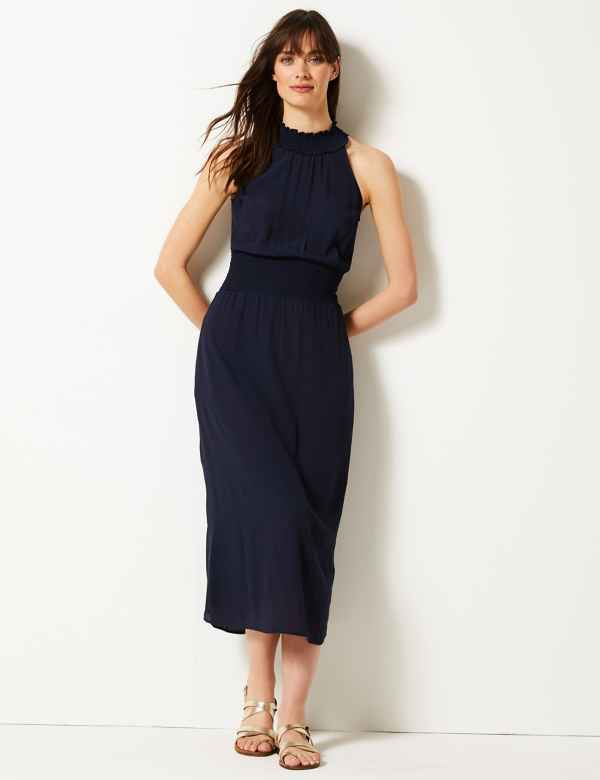 a36c024fa9 Halter Neck Waisted Midi Dress. Online Only