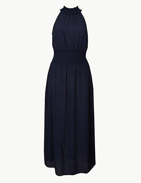 Halter Neck Waisted Midi Dress