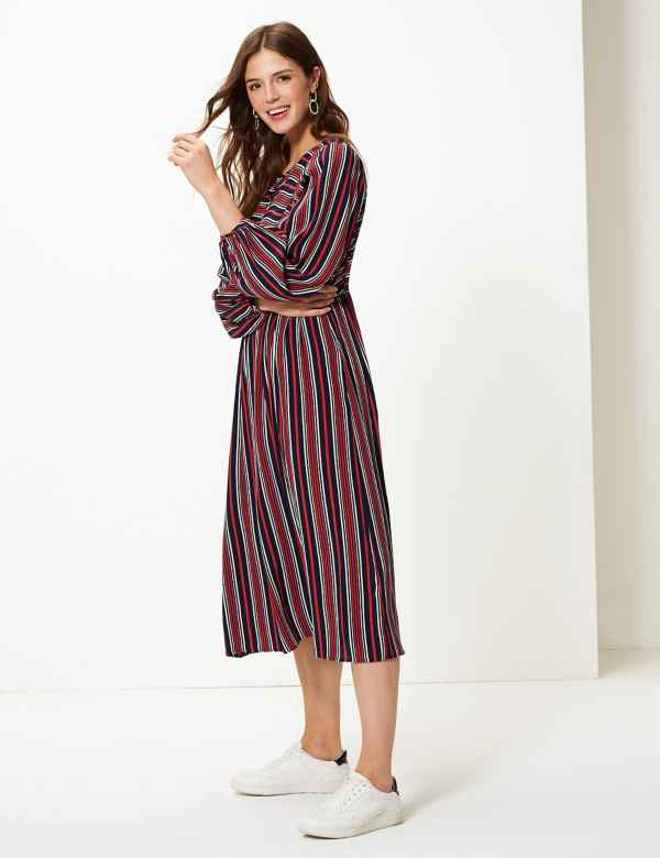 Striped Relaxed Midi Dress 5dc6a742e