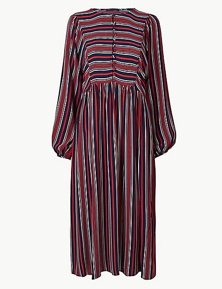 Striped Relaxed Midi Dress