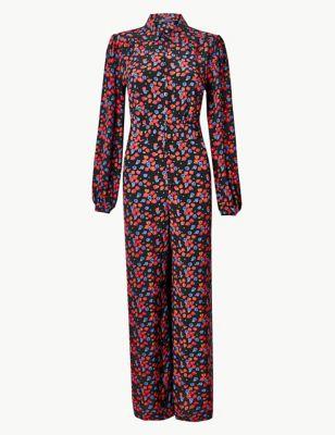 M/&S COLLECTION  Floral Print Button Detailed Jumpsuit PRP £59