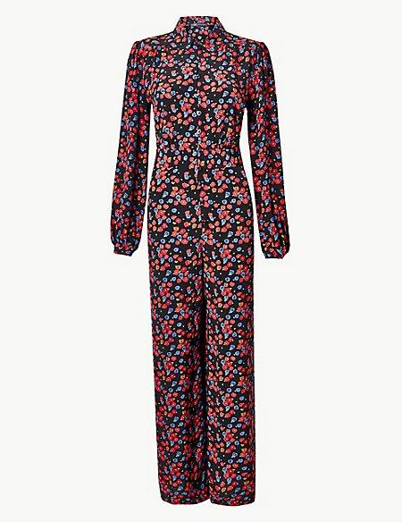 Floral Print Long Sleeve Jumpsuit