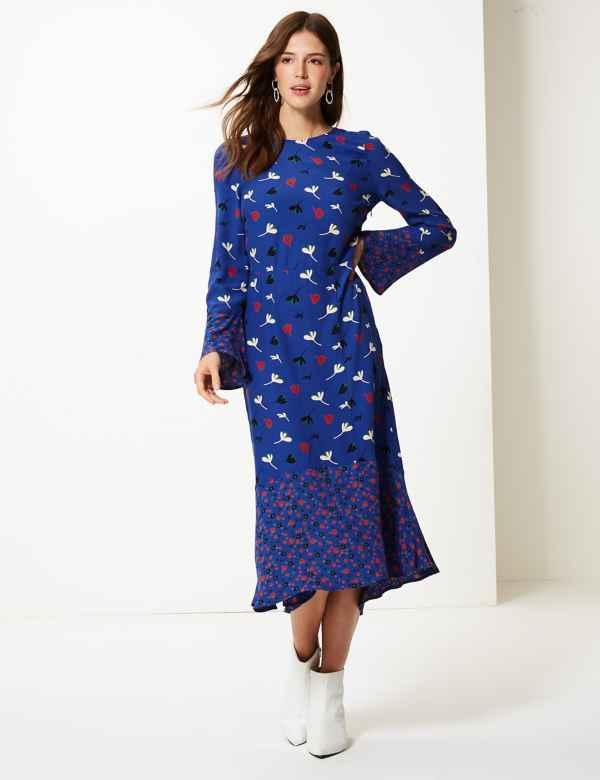 Floral Print Waisted Midi Dress c50030526