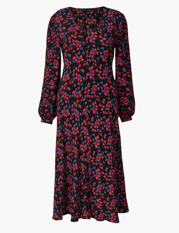 afeccd1f836 Floral Print Fit   Flare Midi Dress. Online Only