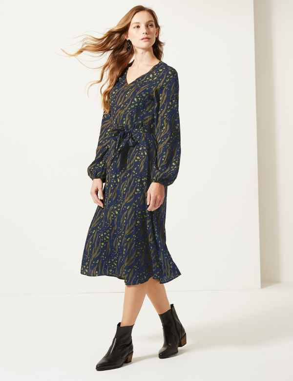 Printed Long Sleeve Waisted Midi Dress 753a0fd5e4c6