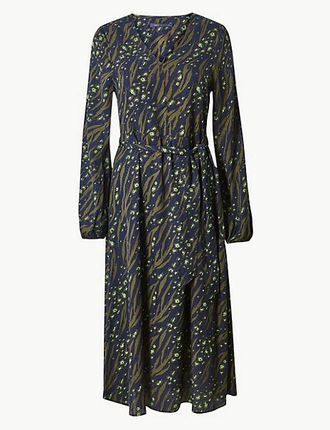 Printed Long Sleeve Waisted Midi Dress