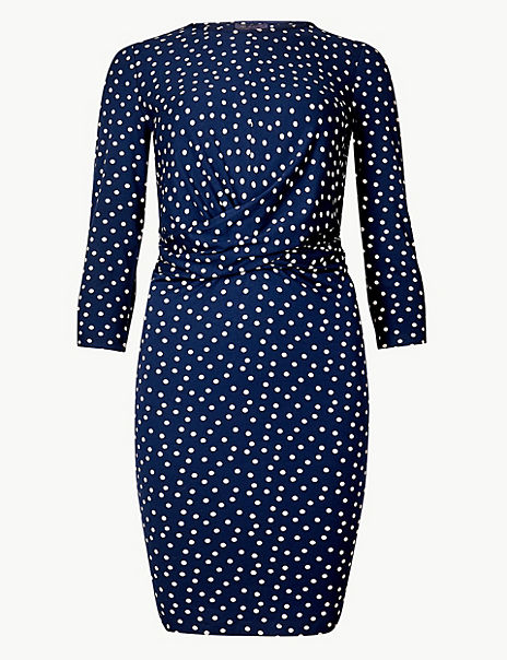 Polka Dot Jersey Bodycon Mini Dress