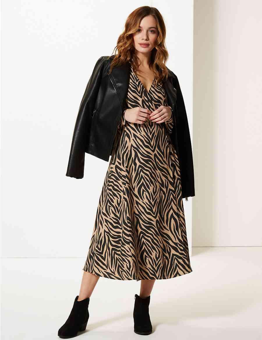 PETITE Animal Print Wrap Midi Dress  d63fb6665
