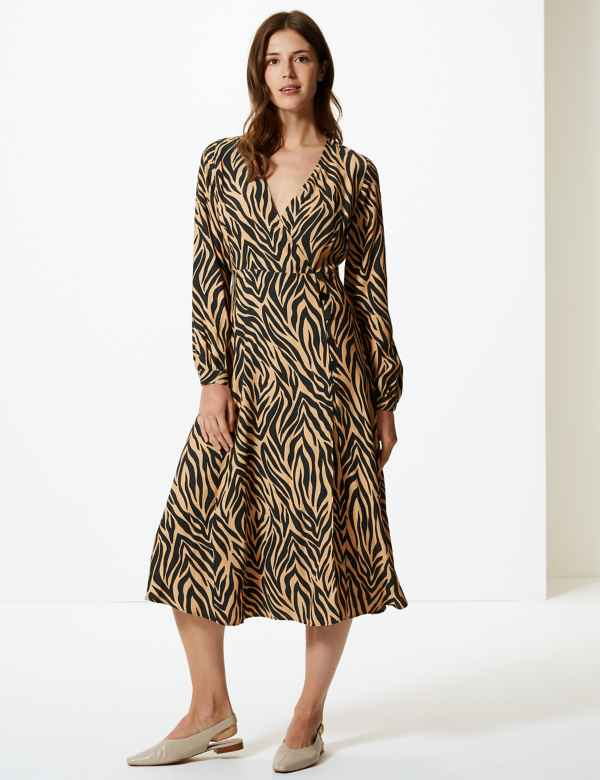 Sale. Sparks. Animal Print Wrap Midi Dress. Online Only dee8fb0e1