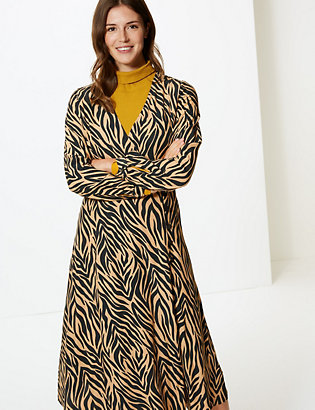 d35d73885b64 Animal Print Wrap Midi Dress | Dresses | Marks and Spencer SE