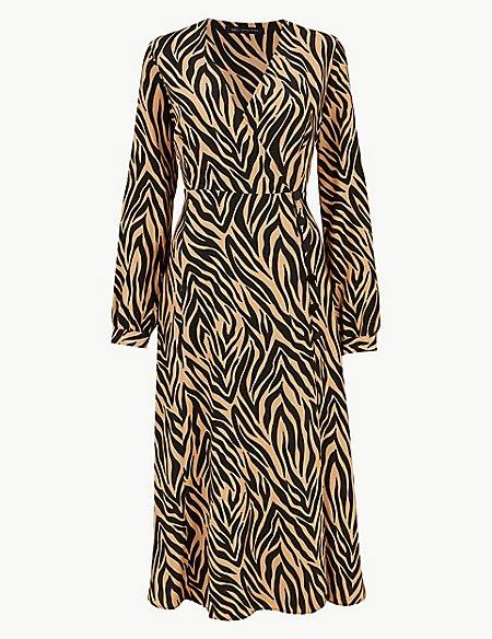 Animal Print Long Sleeve Wrap Midi Dress