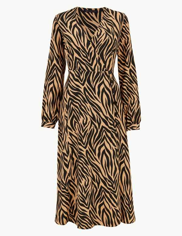 110db62a8a36 Animal Print Wrap Midi Dress