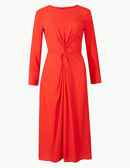 PETITE Twisted Front Fit & Flare Midi Dress