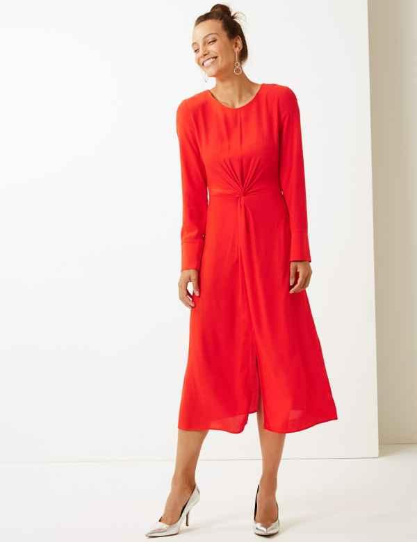 4fc1731030e Twist Front Fit   Flare Midi Dress