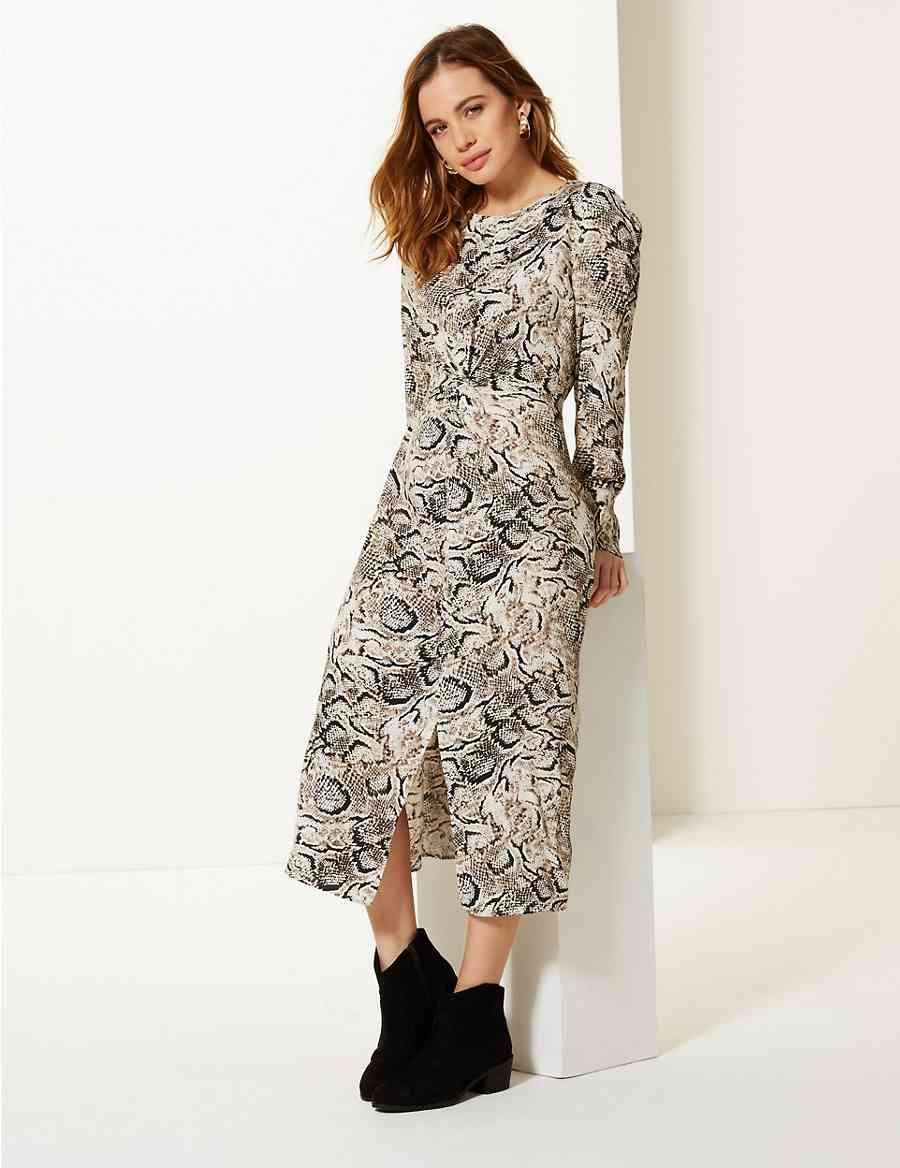 PETITE Animal Print Fit   Flare Midi Dress  622b357e7