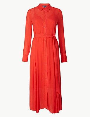 PETITE Long Sleeve Shirt Midi Dress