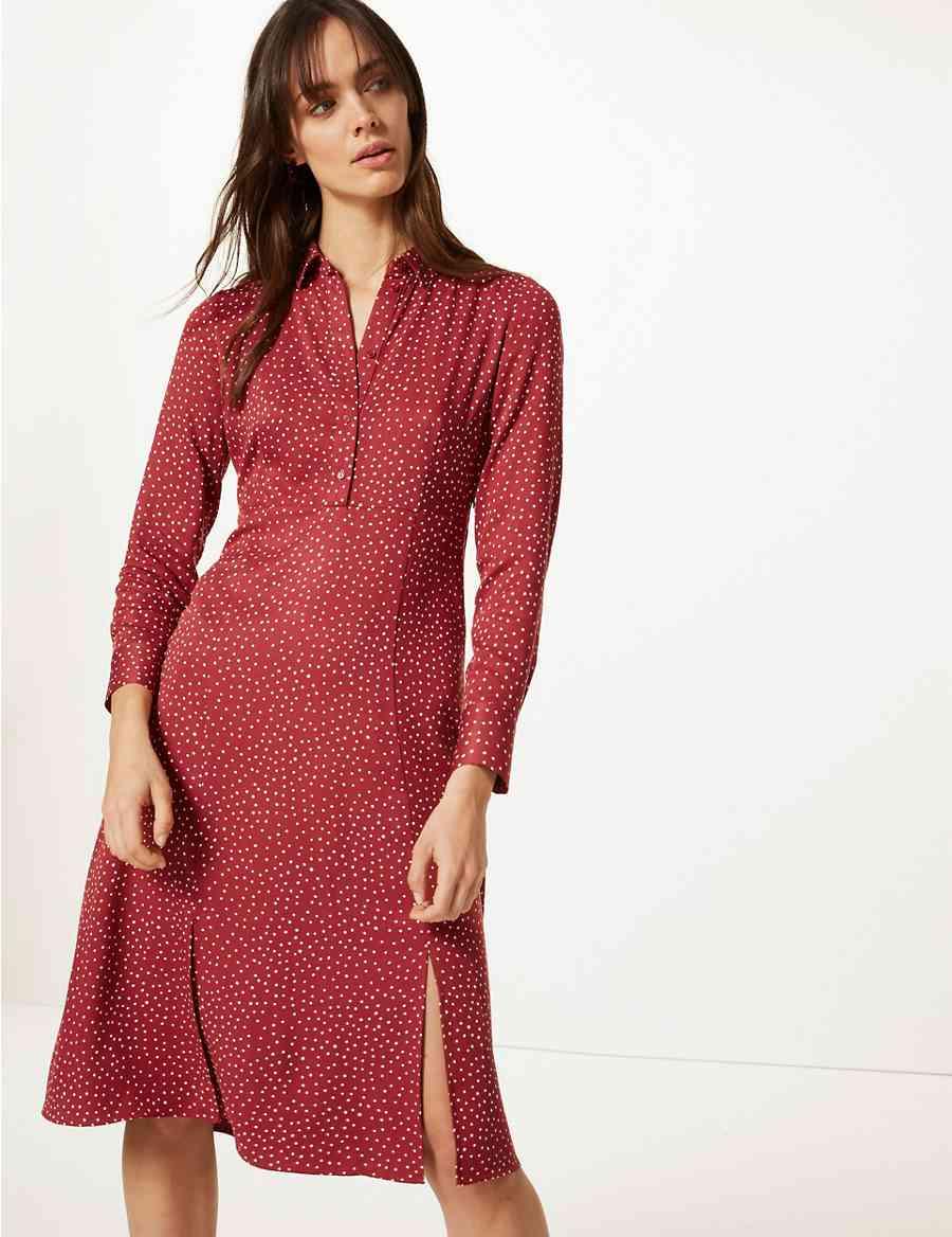 726d2940b42 Polka Dot Long Sleeve Shirt Dress