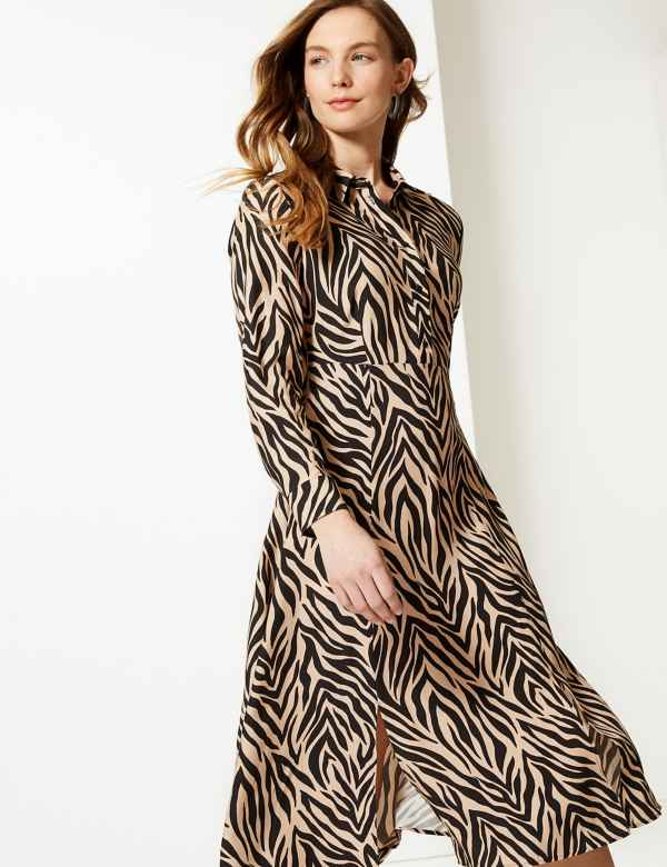 bb161a4b586 Animal Print Midi Shirt Dress