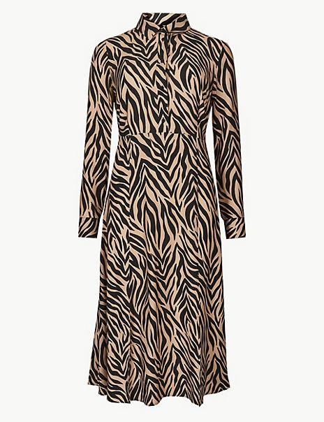 eba0e80747fa Product images. Skip Carousel. Animal Print Midi Shirt Dress