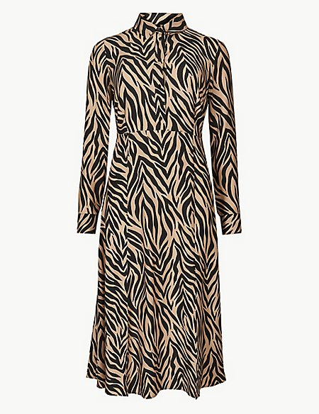 Animal Print Long Sleeve Shirt Midi Dress