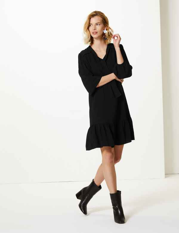Textured 3/4 Sleeve Relaxed Mini Dress