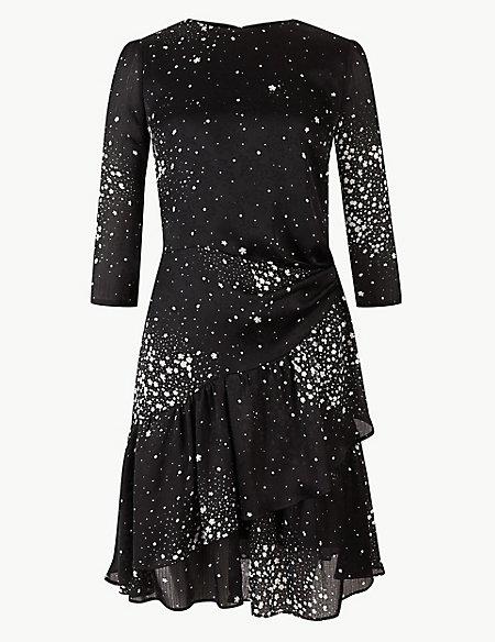 Floral Print 3/4 Sleeve Waisted Mini Dress