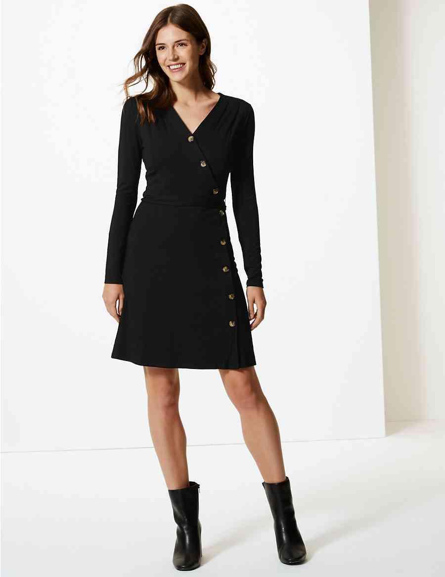 7bb64393de7 Asymmetric Button Front Wrap Dress