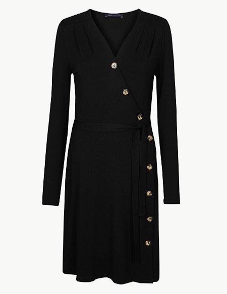Asymmetric Button Front Wrap Dress