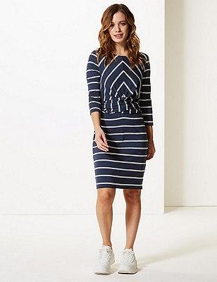 PETITE Striped 3/4 Sleeve Bodycon Mini Dress
