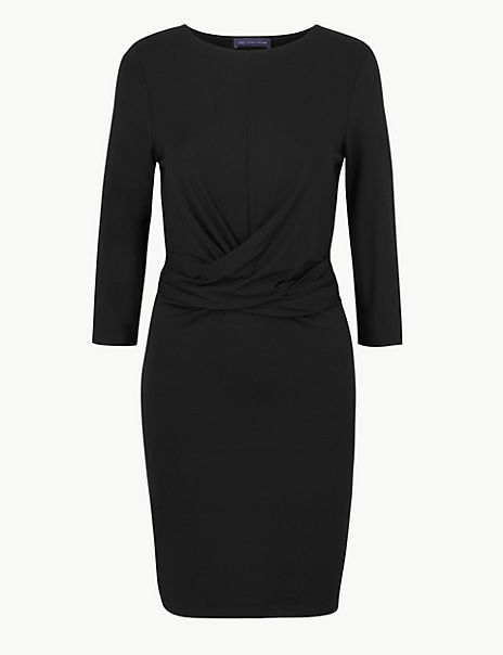 PETITE Twisted 3/4 Sleeve Bodycon Mini Dress