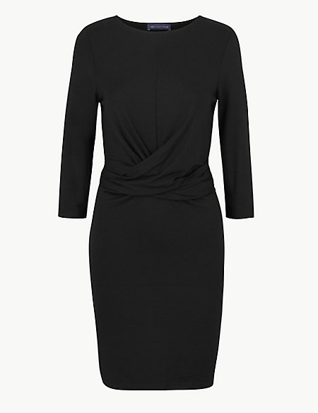 PETITE Twisted 3/4 Sleeve Bodycon Mini Dress