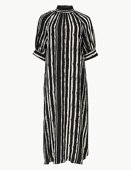 Striped Shift Midi Dress