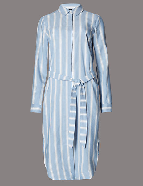 Striped Belted Shirt Dress with Linen