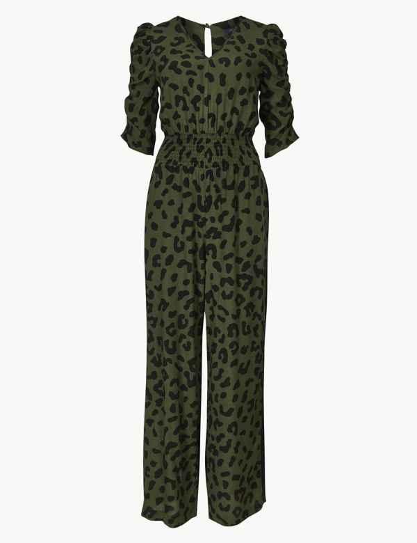27a3b68648 Animal Print Short Sleeve Jumpsuit