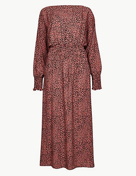 e8da54e4d0 Animal Print Long Sleeve Waisted Midi Dress