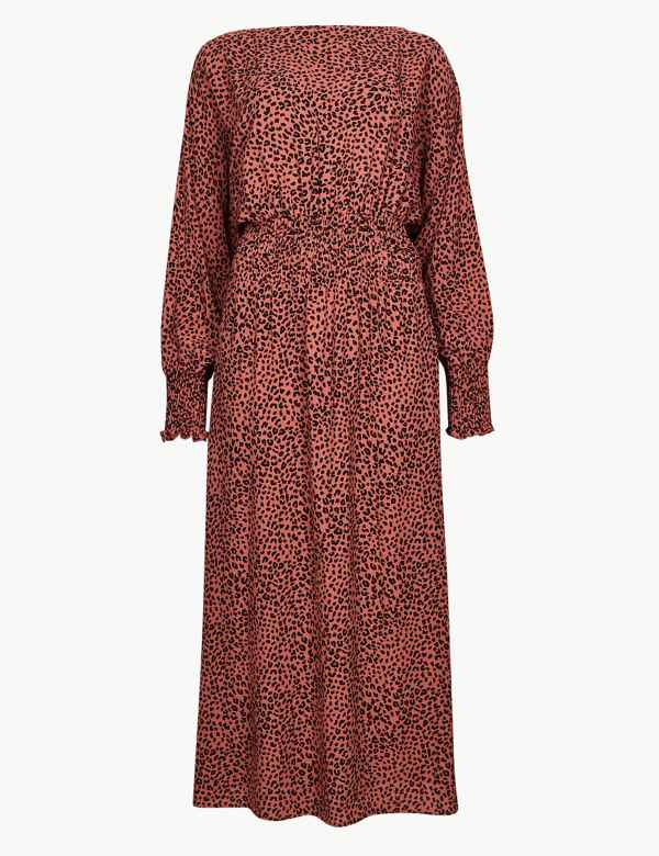 61c00cec0f Animal Print Long Sleeve Waisted Midi Dress