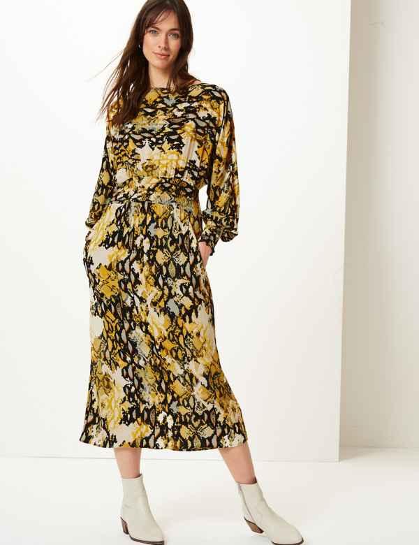 568cad21c9 Animal Print Long Sleeve Waisted Midi Dress