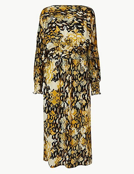 Animal Print Long Sleeve Waisted Midi Dress