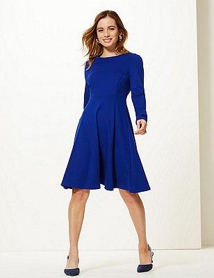 PETITE Waist Seam Fit & Flare Mini Dress