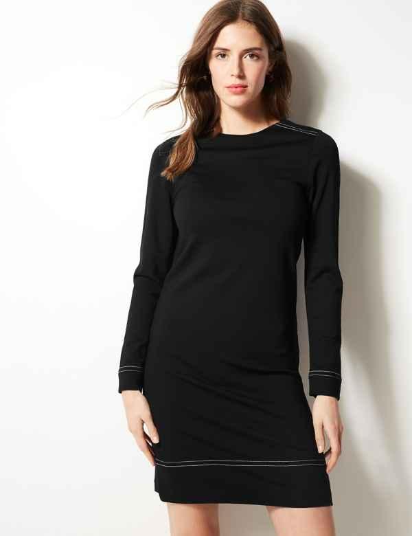 Long Sleeve Shift Dress 080cc44478