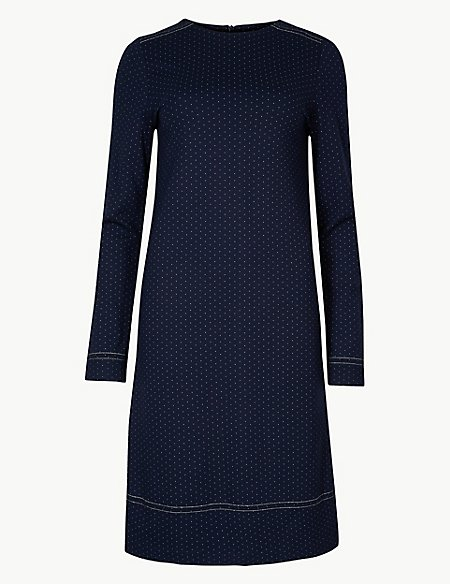 Spotted Long Sleeve Shift Dress