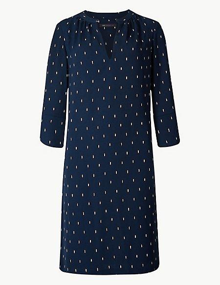 Printed 3/4 Sleeve Shift Dress