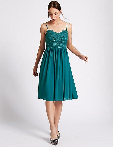 Floral Lace Gathered Hem Slip Midi Dress | M&S Collection | M&S