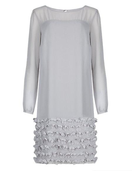 Laser Cut Floral Appliqué Hem Tunic Dress ONLINE ONLY