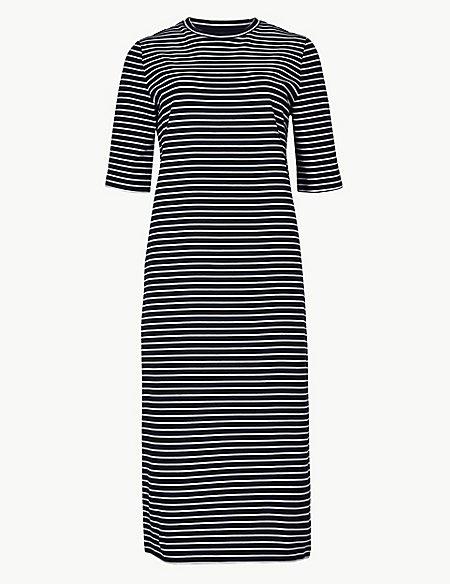 Cotton Rich Striped Shift Midi Dress