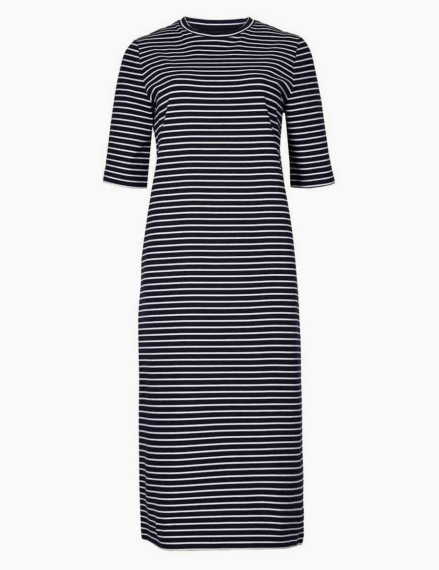 Striped Shift Midi Dress  79faa4fef1a61