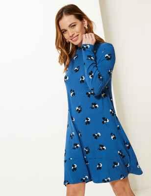 PETITE Floral Print Long Sleeve Swing Dress