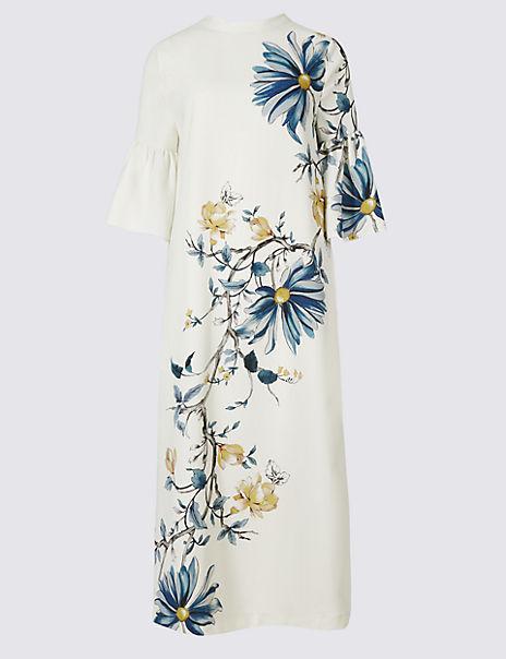 Floral Print Flared Sleeve Tunic Midi Dress
