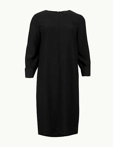Round Neck 3/4 Sleeve Shift Dress