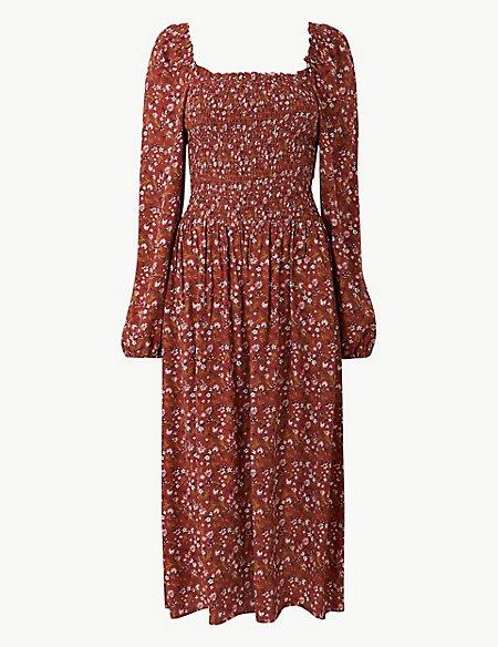 Floral Print Long Sleeve Waisted Midi Dress